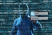 Man hacking account on virtual screen against dark background. Concept of cyber attack and security  poster
