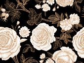 Garden Roses. Floral Vintage Seamless Pattern. White Flowers, Gold Leaves, Branches And Berries On B poster