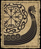 Warship Of The Vikings. Drakkar, Ancient Scandinavian Pattern And Norse Runes, Isolated On White, Ve poster