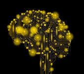 Artificial Intelligence Concept With Brain Illustration On Background. Symbol Of Future Technology,  poster