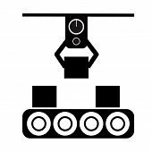 Automated Production Line Icon On White Background. Production Line Sign. Flat Style. poster