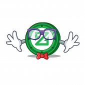 Geek Zcoin Character Cartoon Style Vector Illustration poster