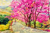 Painting Watercolor Landscape Original Pink Red Color Of Wild Himalayan Cherry,and Lovers Woman, Boy poster