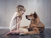 A Wonderful Little Girl And A Huge Dog Communicate With Each Other. The Dog Is Terrible, But Kind. A poster