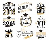 Graduation Wishes Overlays, Lettering Labels Design Set. Retro Graduate Class Of 2018 Badges. Hand D poster