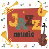 Jazz Musical Instruments Tools Background Jazzband Piano Saxophone Music Sound Vector Illustration R poster