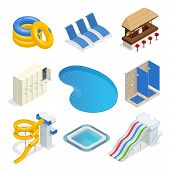 Isometric Water Park Attractions Vector Icon Set With Inflatable Swimming Circles, Sun Beds, Locker  poster