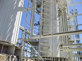 Rectification Columns Of The Oil Refinery. Refinery Equipment. Oil Refinery. Equipment For Primary O poster