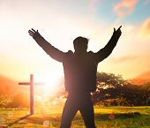 Soft Focus Of Christian People Group Raise Hands Up Worship God Jesus Christ Together In Church Revi poster