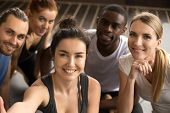 Young Smiling Sporty Multiracial Friends Taking Group Selfie Photo Holding Looking At Camera, Happy  poster