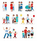Collection Of Young Families. Young Couples. Cartoon People Characters Expecting Baby Born. Pregnant poster