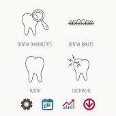 Tooth, Dental Braces And Toothache Icons. Dental Diagnostics Linear Sign. Calendar, Graph Chart And  poster