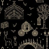 Enchanted Forest. Seamless Pattern With Vintage Gate, Lantern, Carriage, Bridge, Tree, Chest, Cage,  poster