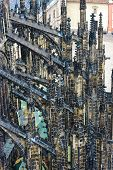 Part Of The Saint Vitus Cathedral Decoration Of Exterior. Medieval Gothic Architecture Building Exte poster