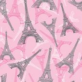 Vector Pink Grey Eifel Tower Paris Seamless Repeat Pattern. Perfect For Travel Themed Postcards, Gre poster