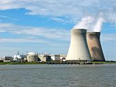 stock photo of reactor  - A nuclear power plant at the river Scheldt in Belgium - JPG