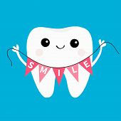 Healthy Tooth Icon Holding Bunting Flag Smile. Oral Dental Hygiene. Children Teeth Care. Cute Cartoo poster