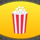 Popcorn Round Box. Film Strip Rounded Frame. Movie Cinema Icon. Pop Corn Popping. Yellow Gradient Ba poster