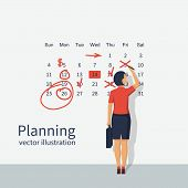 Mark Calendar. Businesswoman Makes Notes On Calendar. Planning Working Month. Schedule Record Remind poster