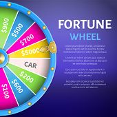Fortune Wheel Poster With Place For Text And Full Length Of Entertainment Round Gambling Machine Wit poster