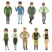Military Uniforms Set, Military Army Officer, Commander, Soldier, , Pilot, Trooper, Navy Captain Vec poster