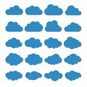 Clouds Silhouettes. Vector Set Of Clouds Shapes. Collection Of Various Forms And Contours. Design El poster