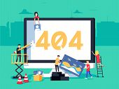 Error 404 Page. Builders Repair Site With Crane. Flat Vector Illustration In Cartoon Style. Page Not poster