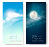 Two Contrasting Sky Banners - Day And Night. Vector. poster
