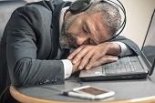 Senior Business Man Fallen Asleep With Hypnosis Self Help Audio Book, Exhausted And Tired poster