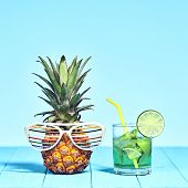 Tropical Pineapple Hipster With Cocktail On Beach. Bright Summer Color. Trendy Fashion Style. Hot Su poster