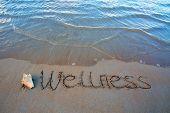 Word Wellness Written On The Sand Near The Sea. Wellness Concept Written On Sand. poster