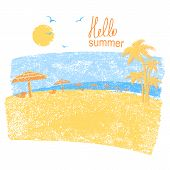 Nature Tropical Beach With Beach Umbrellas .vector Symbol Of Vacation poster