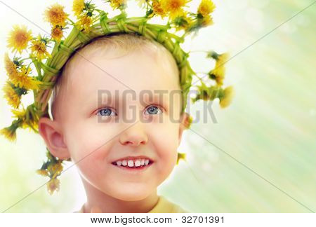 Little Boy In Yellow Dandelions Wreath