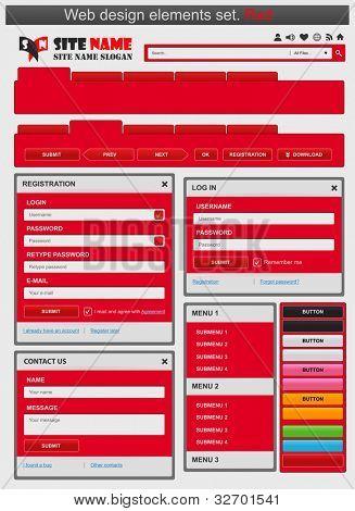 Web design elements set red. Vector illustration