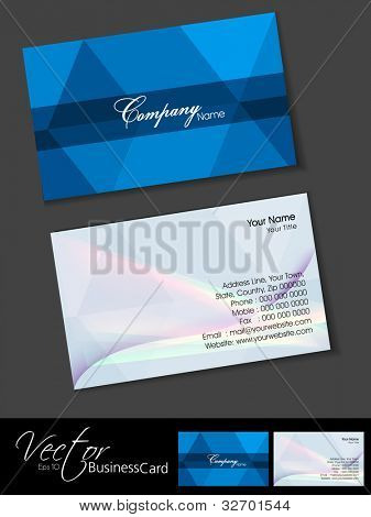 Professional business cards, template or visiting card set. Artistic abstract design, blue color, corporate look, EPS 10 Vector illustration.