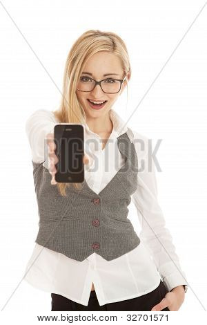 Young Business Woman With Mobile Phone Isolated On White Background