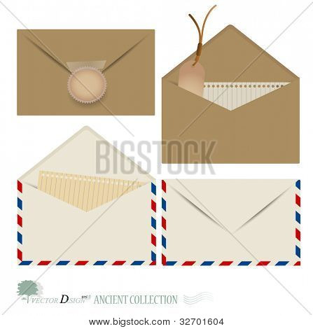 Vector set: Vintage envelope designs.
