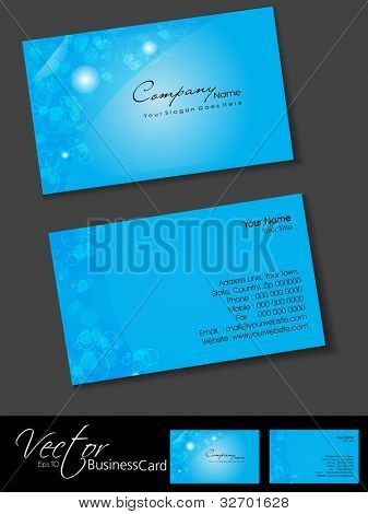 Professional business cards, template or visiting card set. Artistic floral design, blue color, abstract corporate look, EPS 10 Vector illustration.