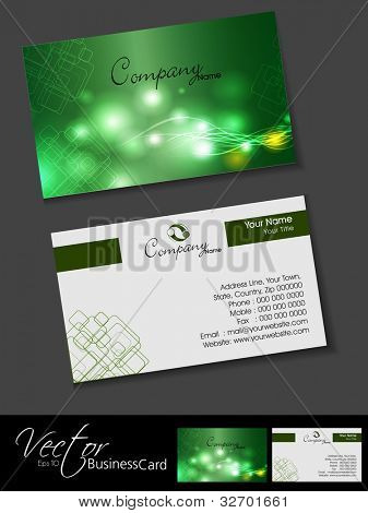 Professional business cards, template or visiting card set. Artistic wave effect, green color, abstract corporate look, EPS 10 Vector illustration.