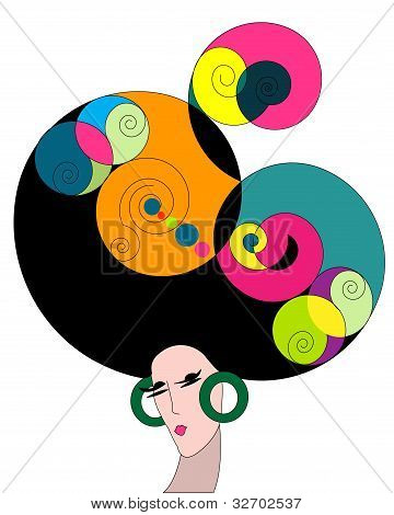 Illustration of a vintage colorful woman