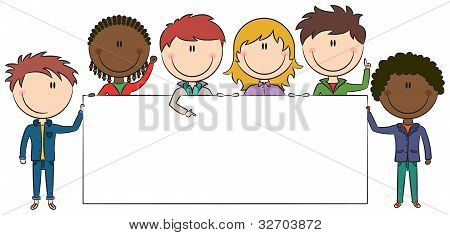 Cheerful Multiethnic Kids Holding Empty Blank Banners