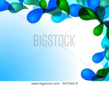 Abstract  drops background in blue and green color and  space for your text. can be use as flyer, banner or poster for save water concept and other purpose. EPS 10.