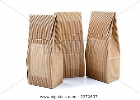 Boxes From The Goffered Cardboard Isolated On A White