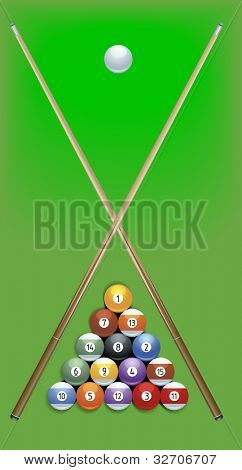 illustration of billard cues and balls on green background