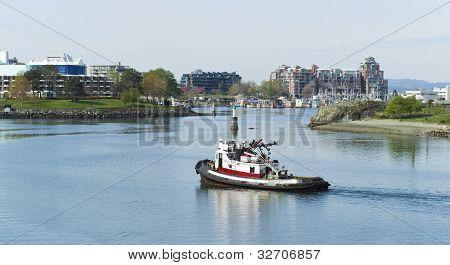 Tug Boat In Victoria Canada Harbor