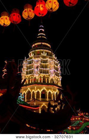 Well lit buddhist temple