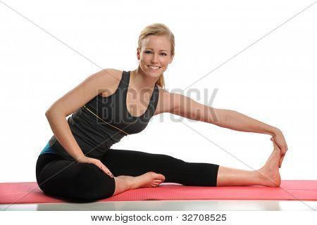 Young Woman working out isolated on a white background