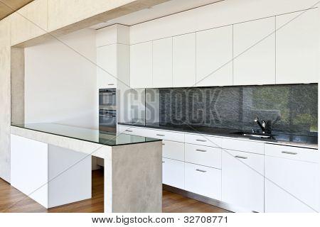 Casa concreto moderna con suelo de parquet, cocina