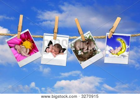 Infant Baby Portraits Hanging On A Sky Background