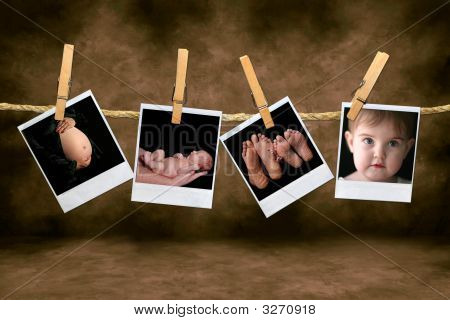 Newborn Infant And Pregnancy Shots Hanging On A Rope With Clothespins